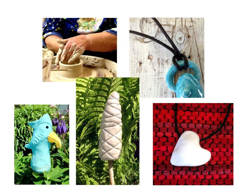 Handgjordt eget smycke eller blompinne att använda som trädgårdskonst. Här använder du stengods som material och bestämmer själv vilken färg du vill ha ur vårt färgsortiment.