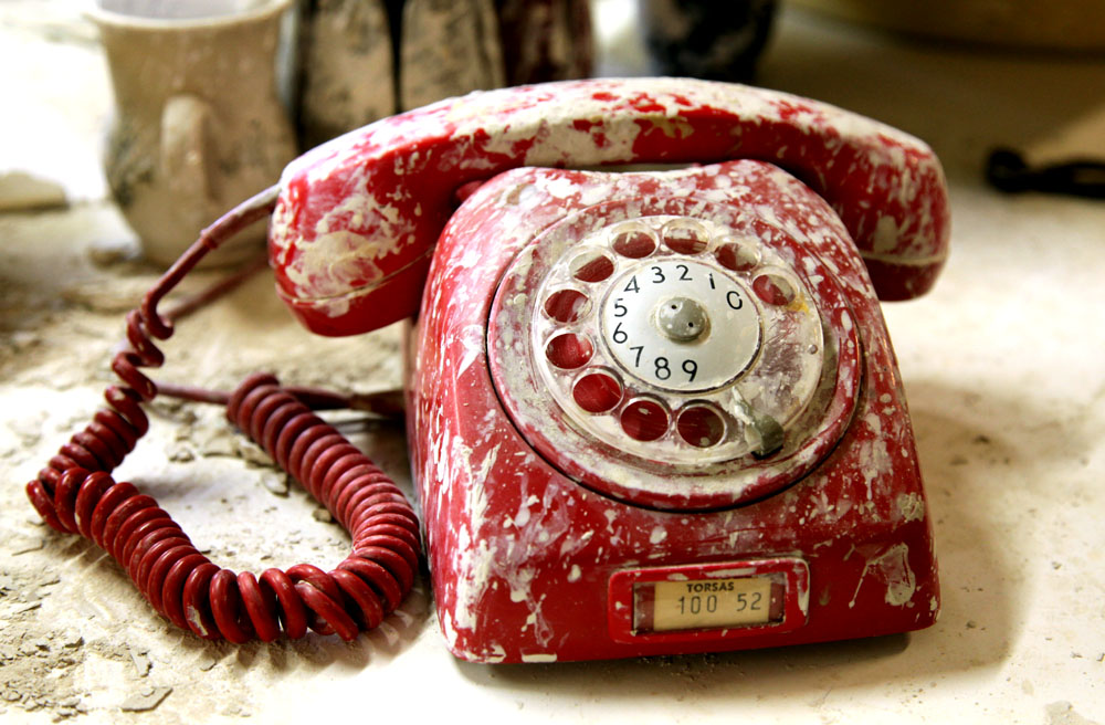 Krukmakeriets väl använda telefon.